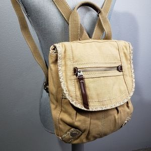 Fossil tan canvas backpack bag